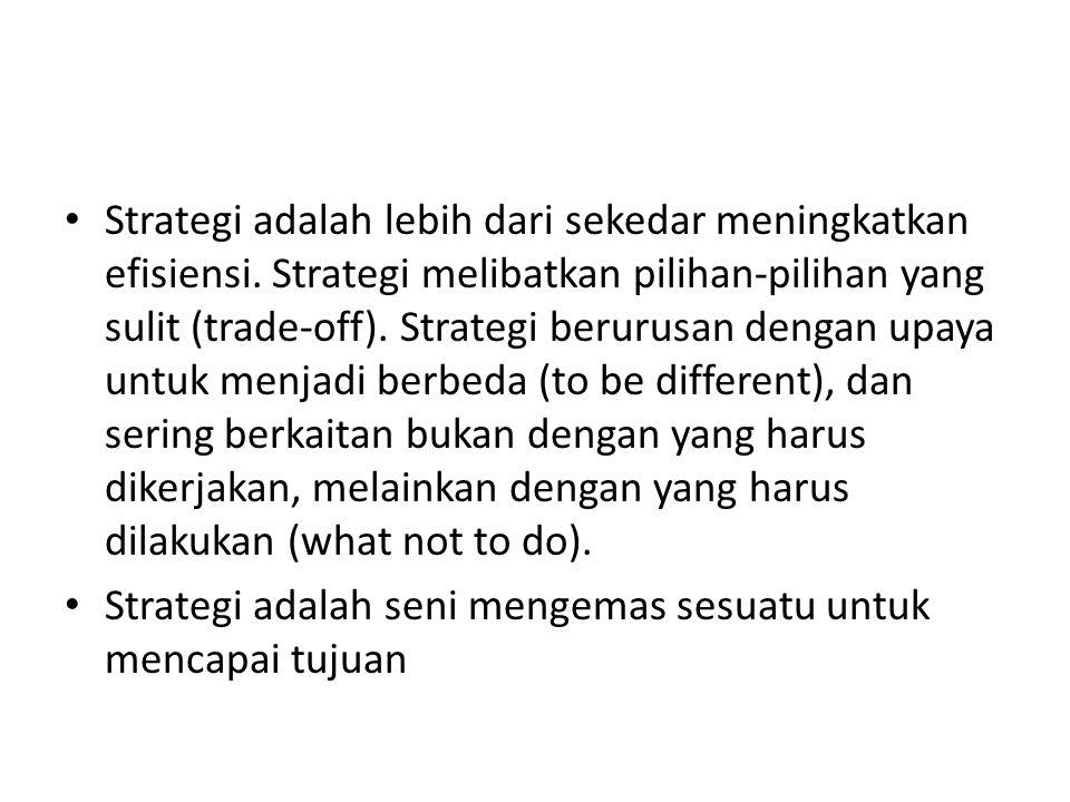 Strategi adalah lebih dari sekedar meningkatkan efisiensi. Strategi melibatkan pilihan-pilihan yang sulit (trade-off). Strategi berurusan dengan upaya