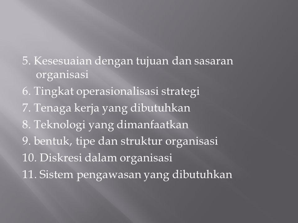 5. Kesesuaian dengan tujuan dan sasaran organisasi 6. Tingkat operasionalisasi strategi 7. Tenaga kerja yang dibutuhkan 8. Teknologi yang dimanfaatkan