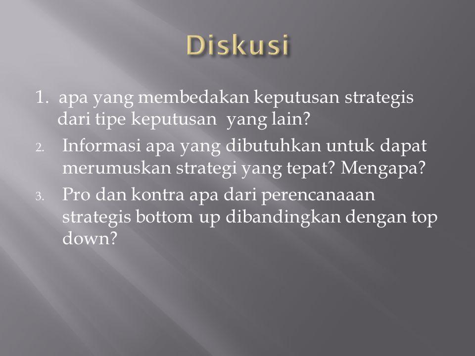 1. apa yang membedakan keputusan strategis dari tipe keputusan yang lain? 2. Informasi apa yang dibutuhkan untuk dapat merumuskan strategi yang tepat?