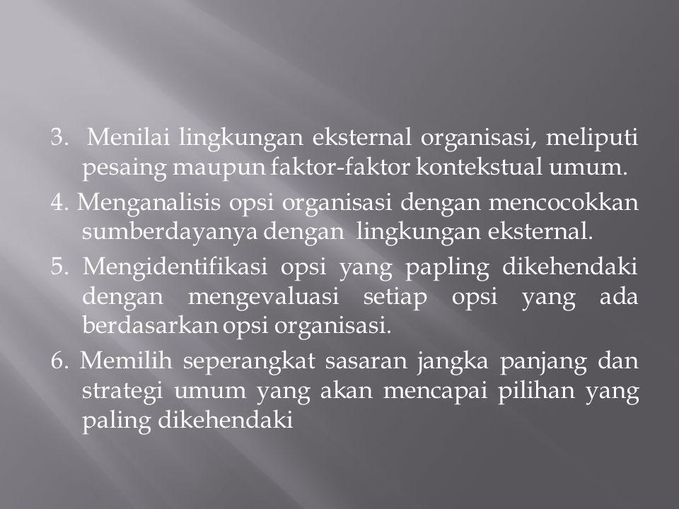 3. Menilai lingkungan eksternal organisasi, meliputi pesaing maupun faktor-faktor kontekstual umum. 4. Menganalisis opsi organisasi dengan mencocokkan