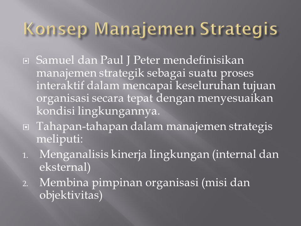  Samuel dan Paul J Peter mendefinisikan manajemen strategik sebagai suatu proses interaktif dalam mencapai keseluruhan tujuan organisasi secara tepat