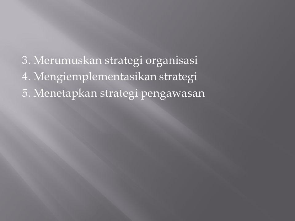 3. Merumuskan strategi organisasi 4. Mengiemplementasikan strategi 5. Menetapkan strategi pengawasan