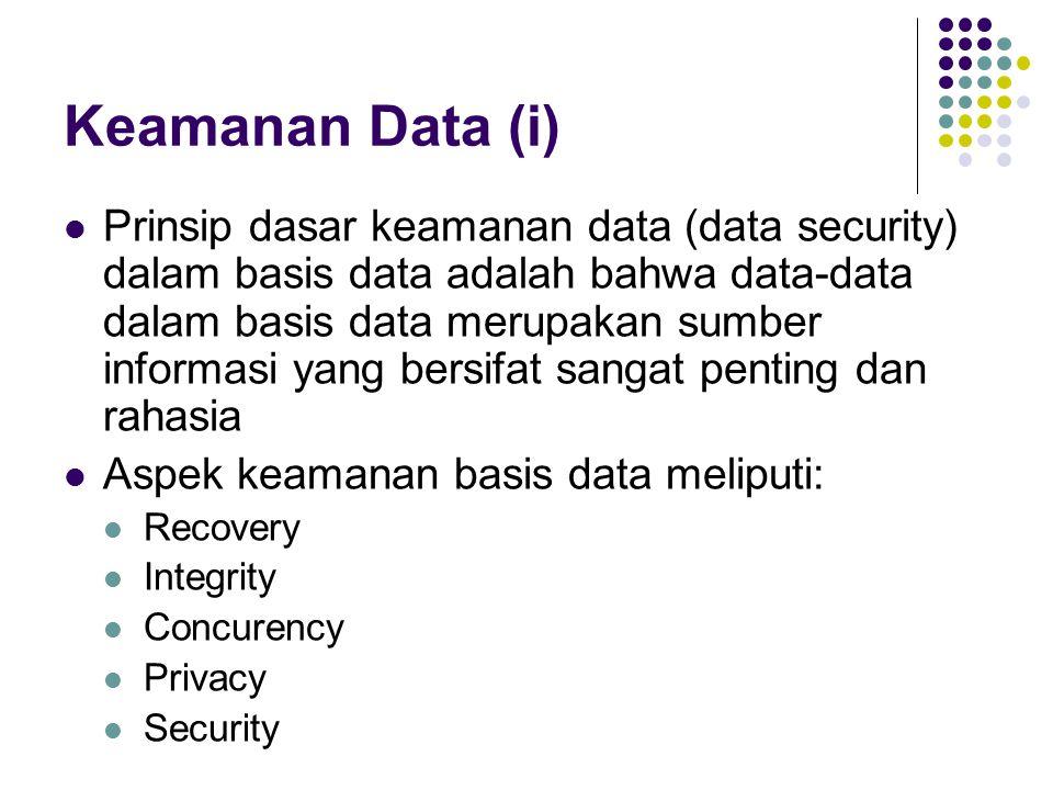 Keamanan Data (i) Prinsip dasar keamanan data (data security) dalam basis data adalah bahwa data-data dalam basis data merupakan sumber informasi yang bersifat sangat penting dan rahasia Aspek keamanan basis data meliputi: Recovery Integrity Concurency Privacy Security