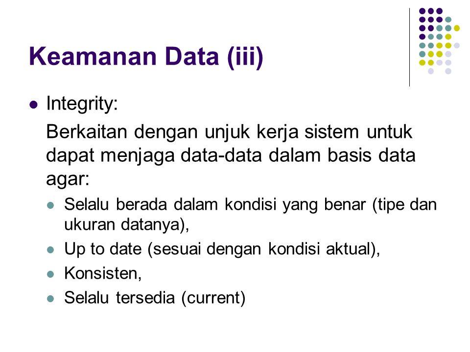 Keamanan Data (iii) Integrity: Berkaitan dengan unjuk kerja sistem untuk dapat menjaga data-data dalam basis data agar: Selalu berada dalam kondisi yang benar (tipe dan ukuran datanya), Up to date (sesuai dengan kondisi aktual), Konsisten, Selalu tersedia (current)