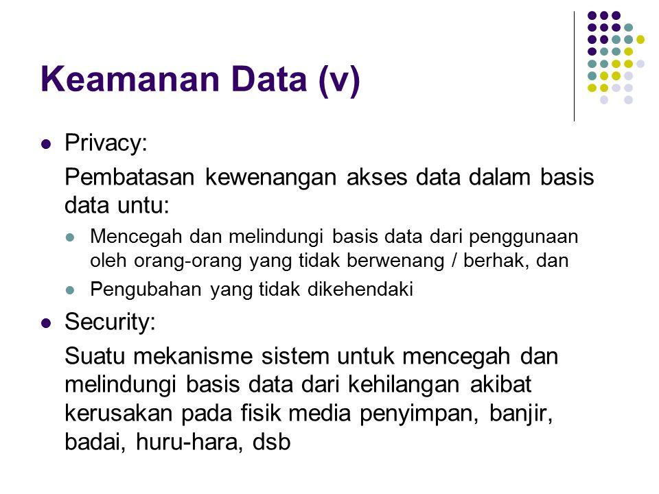 Keamanan Data (v) Privacy: Pembatasan kewenangan akses data dalam basis data untu: Mencegah dan melindungi basis data dari penggunaan oleh orang-orang yang tidak berwenang / berhak, dan Pengubahan yang tidak dikehendaki Security: Suatu mekanisme sistem untuk mencegah dan melindungi basis data dari kehilangan akibat kerusakan pada fisik media penyimpan, banjir, badai, huru-hara, dsb