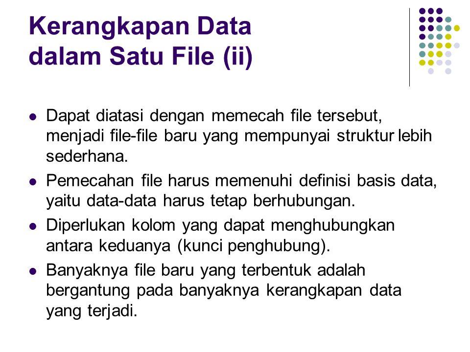Kerangkapan Data dalam Satu File (ii) Dapat diatasi dengan memecah file tersebut, menjadi file-file baru yang mempunyai struktur lebih sederhana.