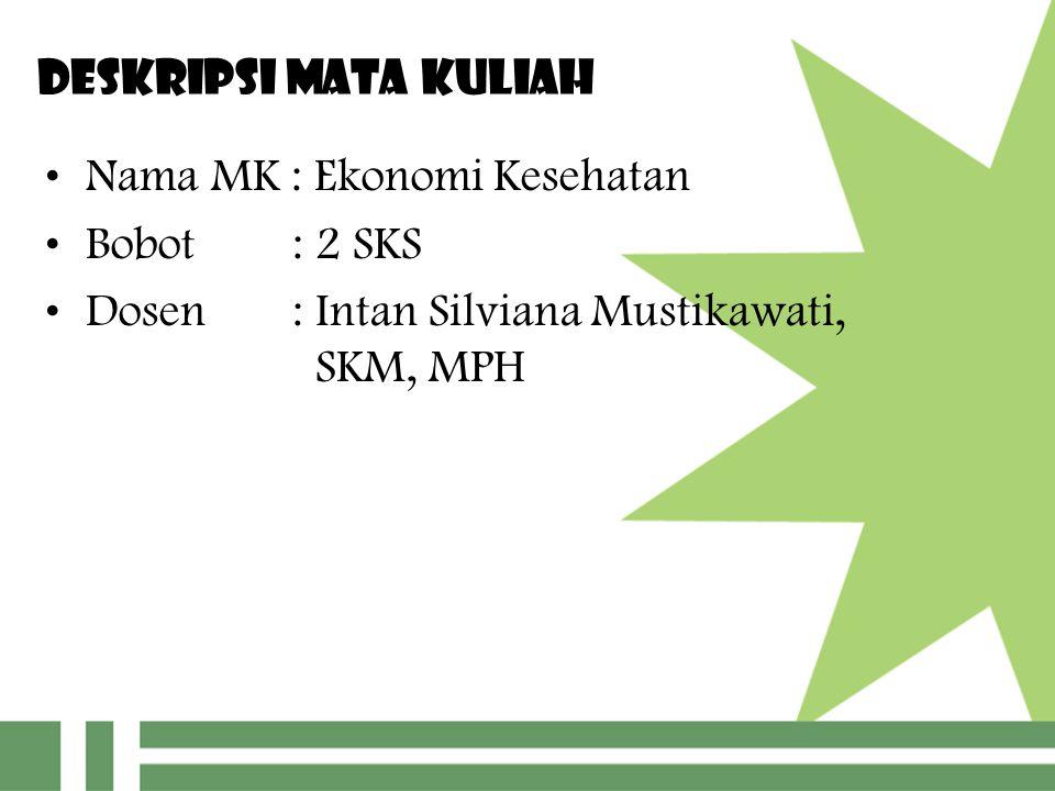 DESKRIPSI MATA KULIAH Nama MK : Ekonomi Kesehatan Bobot : 2 SKS Dosen : Intan Silviana Mustikawati, SKM, MPH