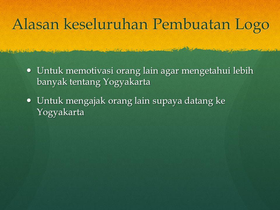 Alasan keseluruhan Pembuatan Logo Untuk memotivasi orang lain agar mengetahui lebih banyak tentang Yogyakarta Untuk memotivasi orang lain agar mengetahui lebih banyak tentang Yogyakarta Untuk mengajak orang lain supaya datang ke Yogyakarta Untuk mengajak orang lain supaya datang ke Yogyakarta