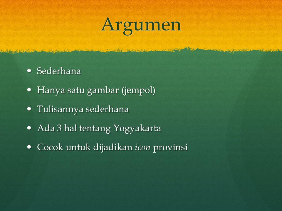 Argumen Sederhana Sederhana Hanya satu gambar (jempol) Hanya satu gambar (jempol) Tulisannya sederhana Tulisannya sederhana Ada 3 hal tentang Yogyakar
