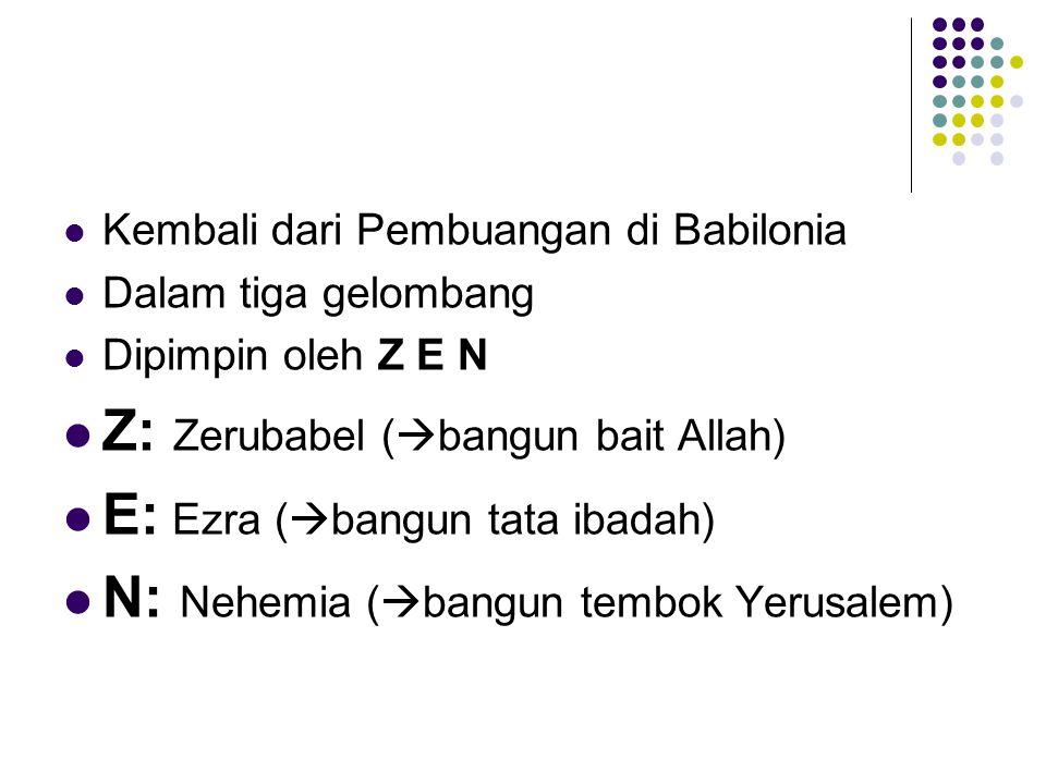 Kembali dari Pembuangan di Babilonia Dalam tiga gelombang Dipimpin oleh Z E N Z: Zerubabel (  bangun bait Allah) E: Ezra (  bangun tata ibadah) N: N