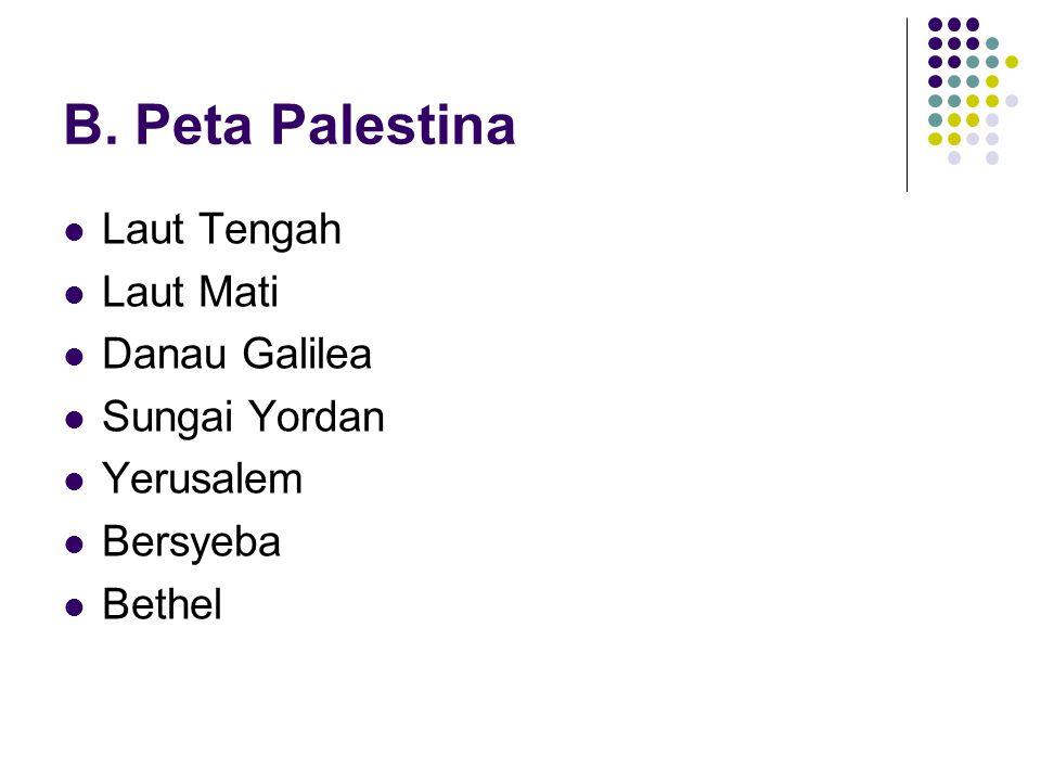 B. Peta Palestina Laut Tengah Laut Mati Danau Galilea Sungai Yordan Yerusalem Bersyeba Bethel