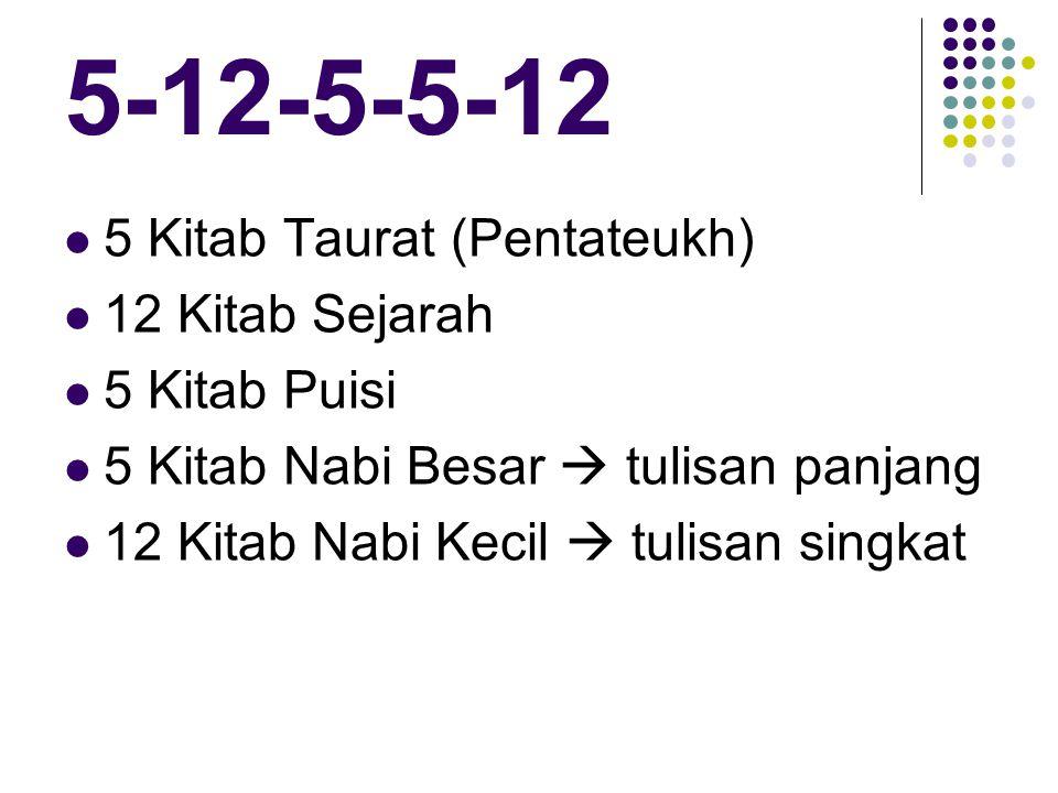 5 Kitab Taurat (Pentateukh) 12 Kitab Sejarah 5 Kitab Puisi 5 Kitab Nabi Besar  tulisan panjang 12 Kitab Nabi Kecil  tulisan singkat
