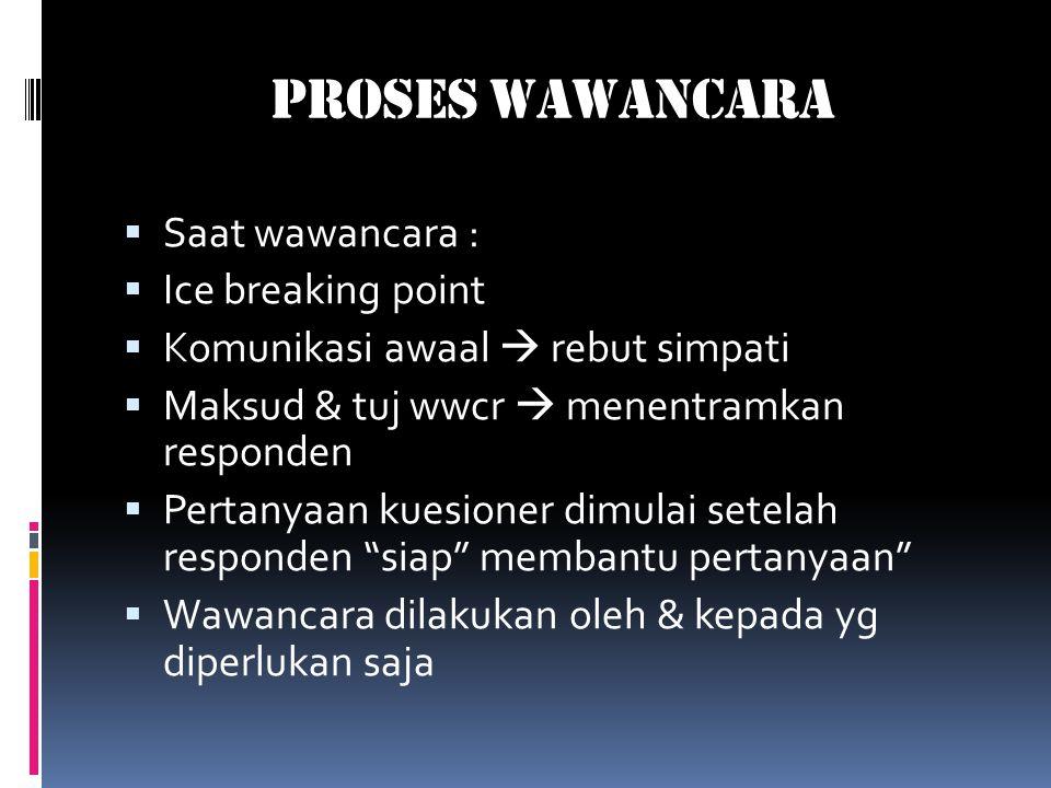 Proses Wawancara  Saat wawancara :  Ice breaking point  Komunikasi awaal  rebut simpati  Maksud & tuj wwcr  menentramkan responden  Pertanyaan