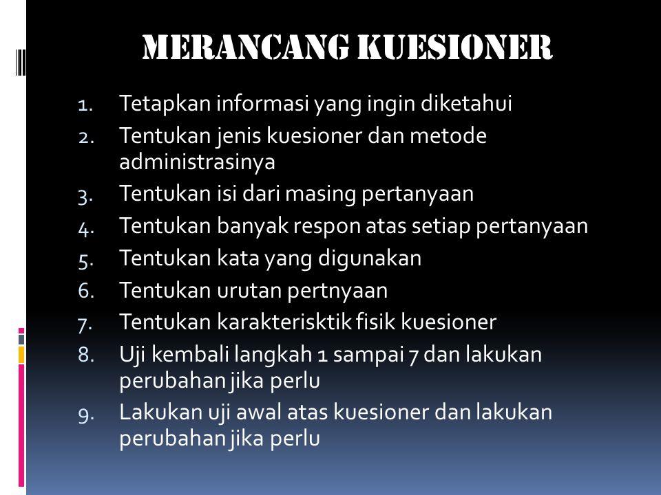 MERANCANG KUESIONER 1. Tetapkan informasi yang ingin diketahui 2.