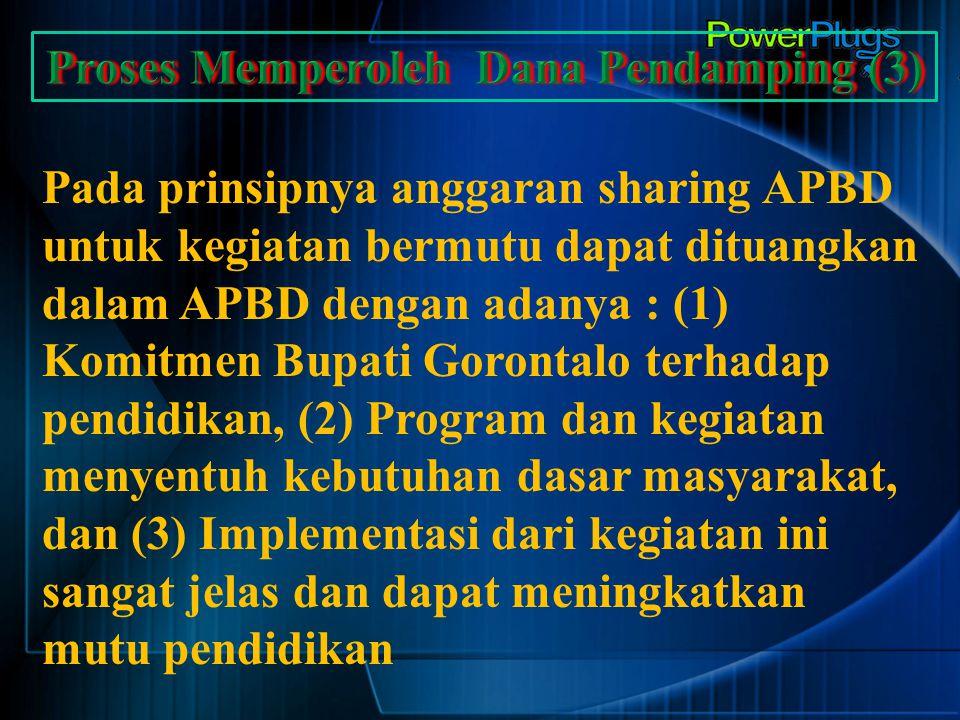 Pada prinsipnya anggaran sharing APBD untuk kegiatan bermutu dapat dituangkan dalam APBD dengan adanya : (1) Komitmen Bupati Gorontalo terhadap pendid