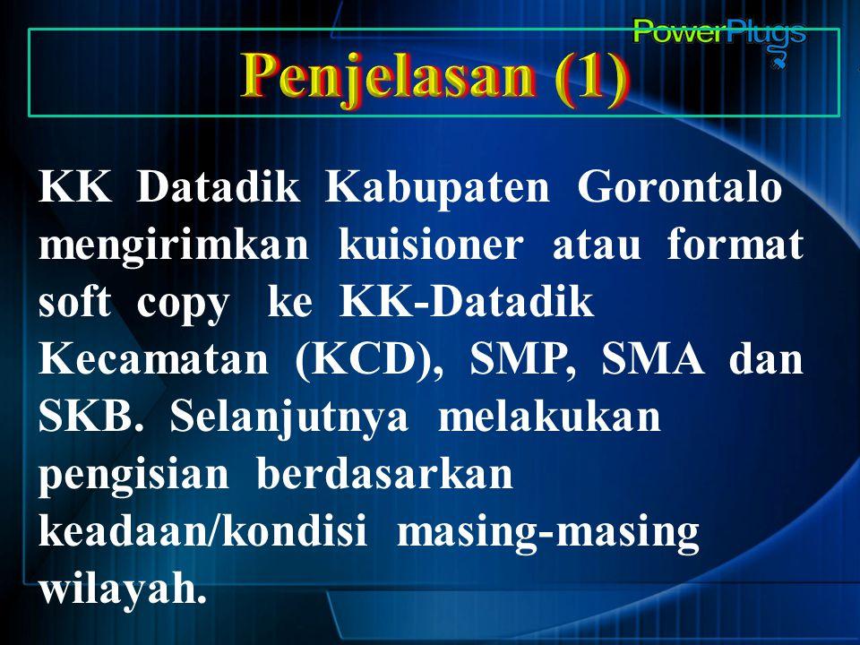 KK Datadik Kabupaten Gorontalo mengirimkan kuisioner atau format soft copy ke KK-Datadik Kecamatan (KCD), SMP, SMA dan SKB. Selanjutnya melakukan peng