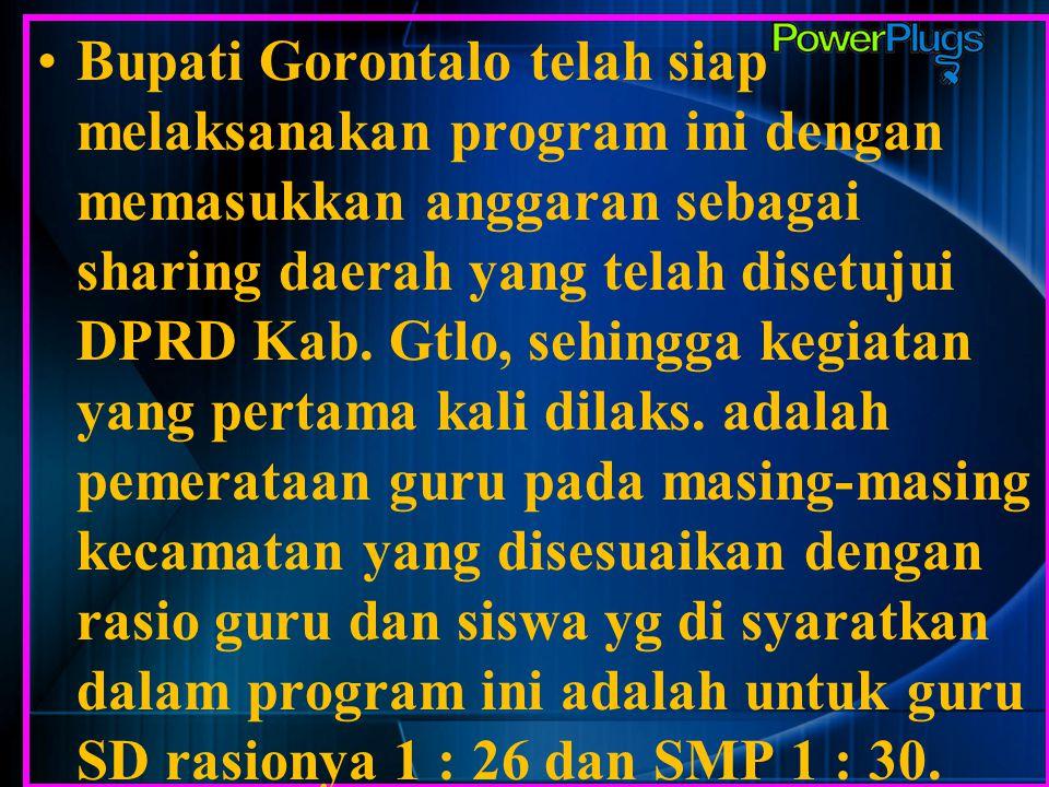 Bupati Gorontalo telah siap melaksanakan program ini dengan memasukkan anggaran sebagai sharing daerah yang telah disetujui DPRD Kab. Gtlo, sehingga k