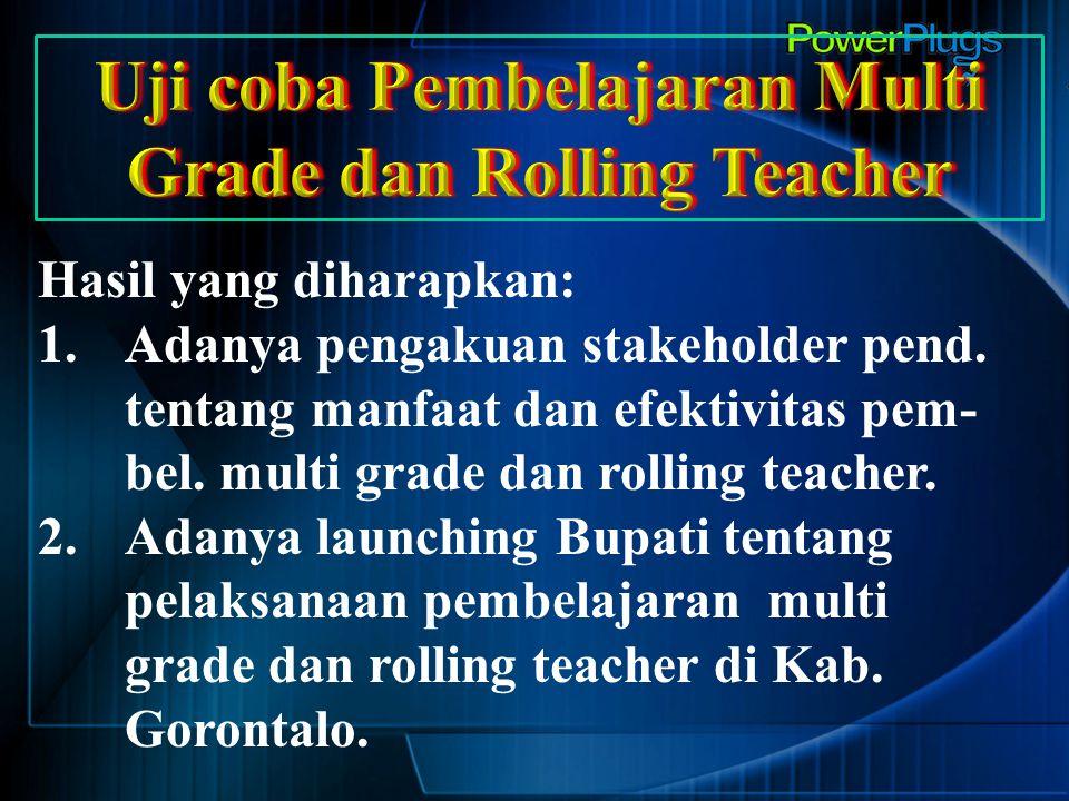 Hasil yang diharapkan: 1.Adanya pengakuan stakeholder pend. tentang manfaat dan efektivitas pem- bel. multi grade dan rolling teacher. 2.Adanya launch