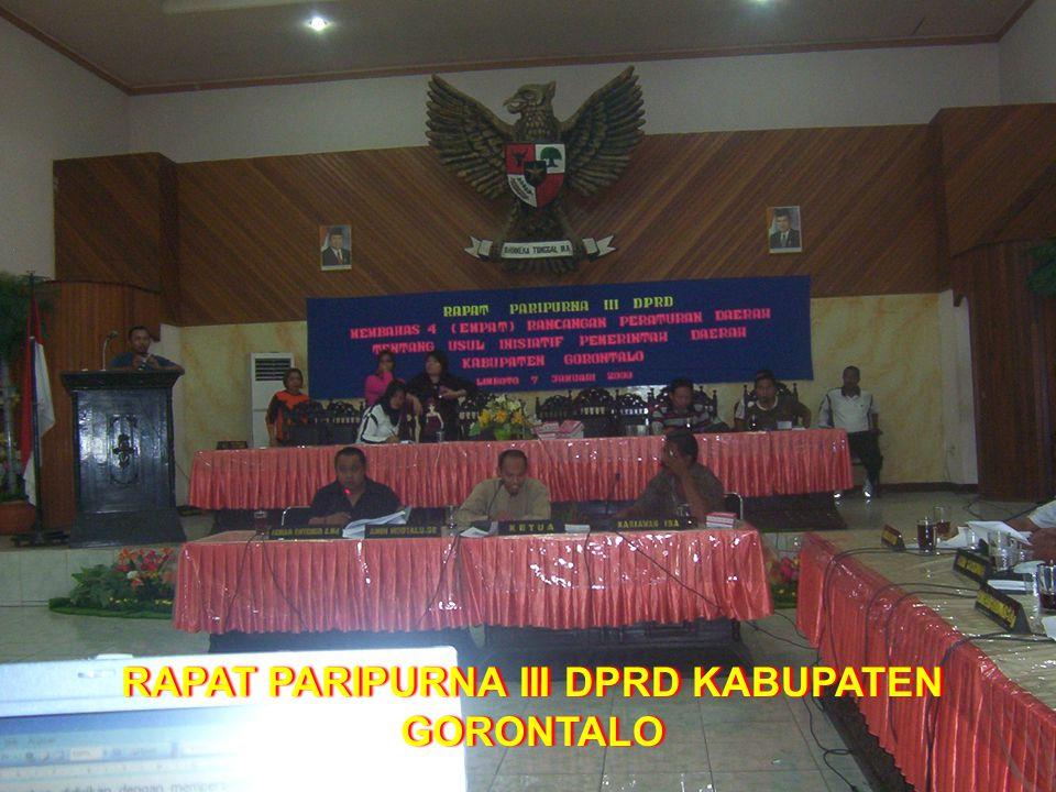 RAPAT PARIPURNA III DPRD KABUPATEN GORONTALO