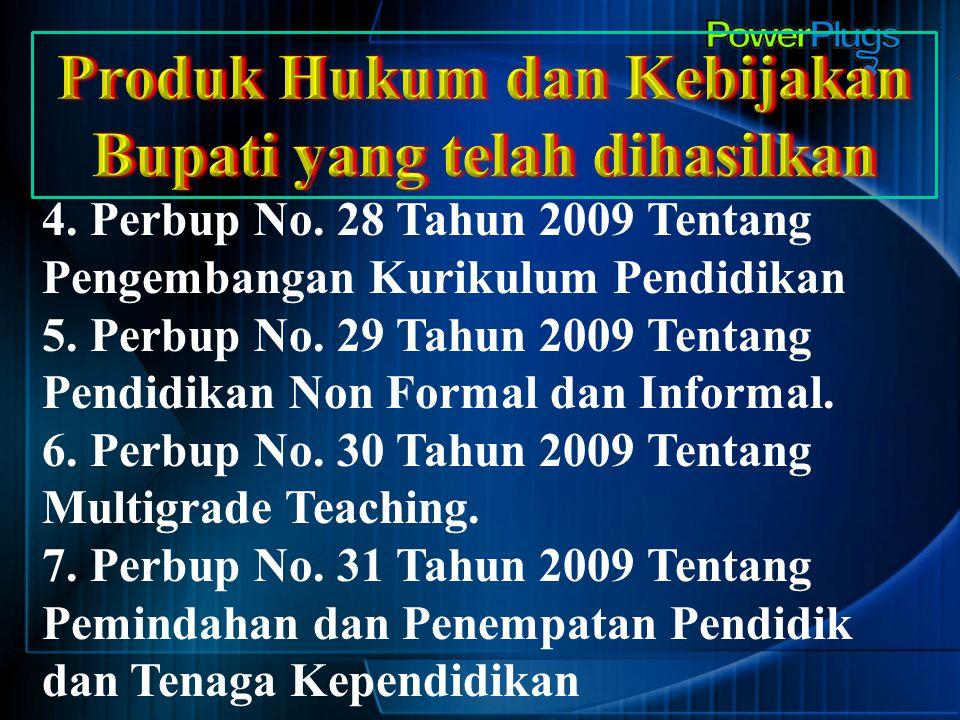 4. Perbup No. 28 Tahun 2009 Tentang Pengembangan Kurikulum Pendidikan 5. Perbup No. 29 Tahun 2009 Tentang Pendidikan Non Formal dan Informal. 6. Perbu