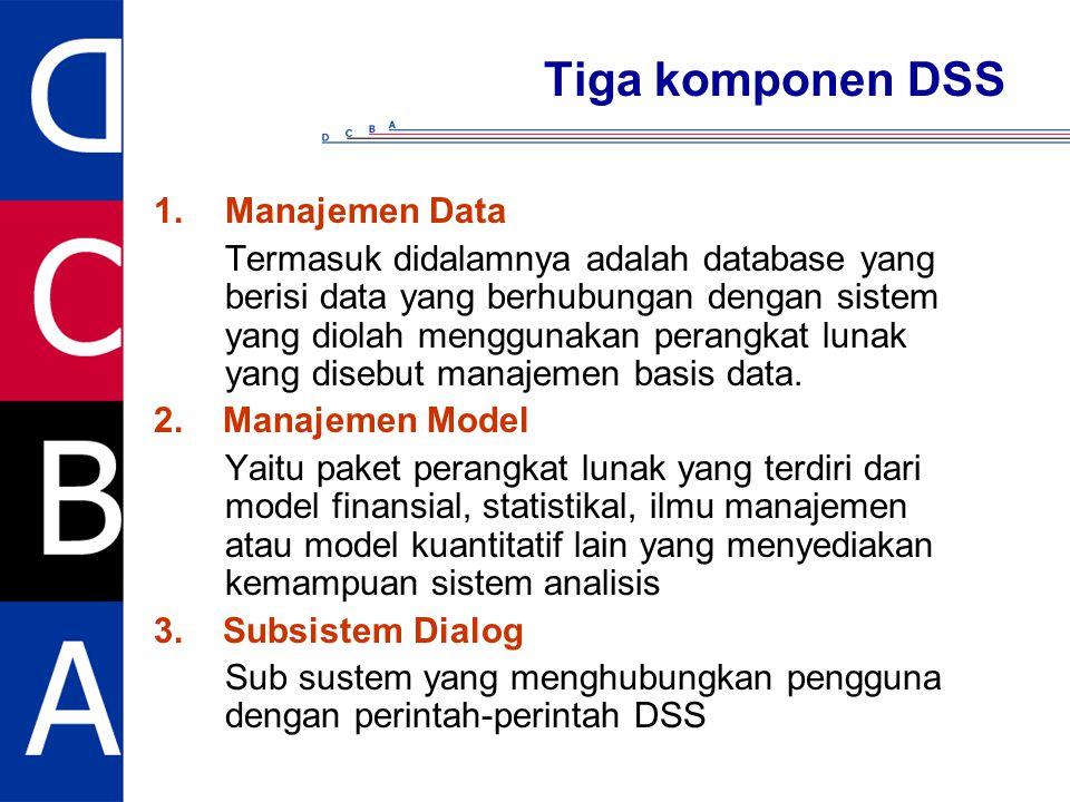 Tiga komponen DSS 1.Manajemen Data Termasuk didalamnya adalah database yang berisi data yang berhubungan dengan sistem yang diolah menggunakan perangk