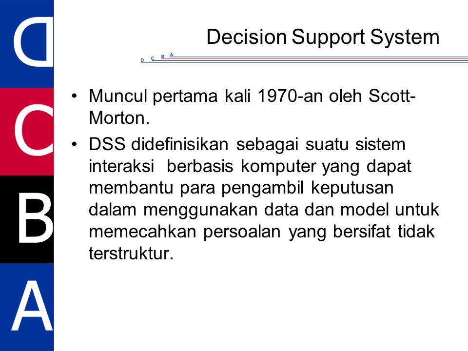 Decision Support System Muncul pertama kali 1970-an oleh Scott- Morton. DSS didefinisikan sebagai suatu sistem interaksi berbasis komputer yang dapat