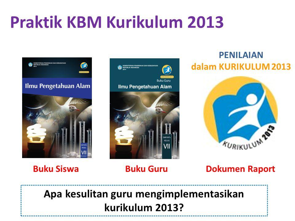 Praktik KBM Kurikulum 2013 Buku Siswa Apa kesulitan guru mengimplementasikan kurikulum 2013? Buku GuruDokumen Raport PENILAIAN dalam KURIKULUM 2013