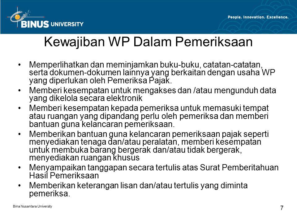 Pembahasan Akhir (Pasal 1 angka 12 PMK 199/PMK.03/2007) Bina Nusantara University 8 Pembahasan Akhir Hasil Pemeriksaan (Closing Conference) adalah pembahasan antara Wajib Pajak dengan Pemeriksa Pajak atas temuan pemeriksaan yang hasilnya dituangkan dalam Berita Acara Pembahasan Akhir Hasil Pemeriksaan yang ditandatangani oleh kedua belah pihak dan berisi koreksi baik yang disetujui maupun yang tidak disetujui.