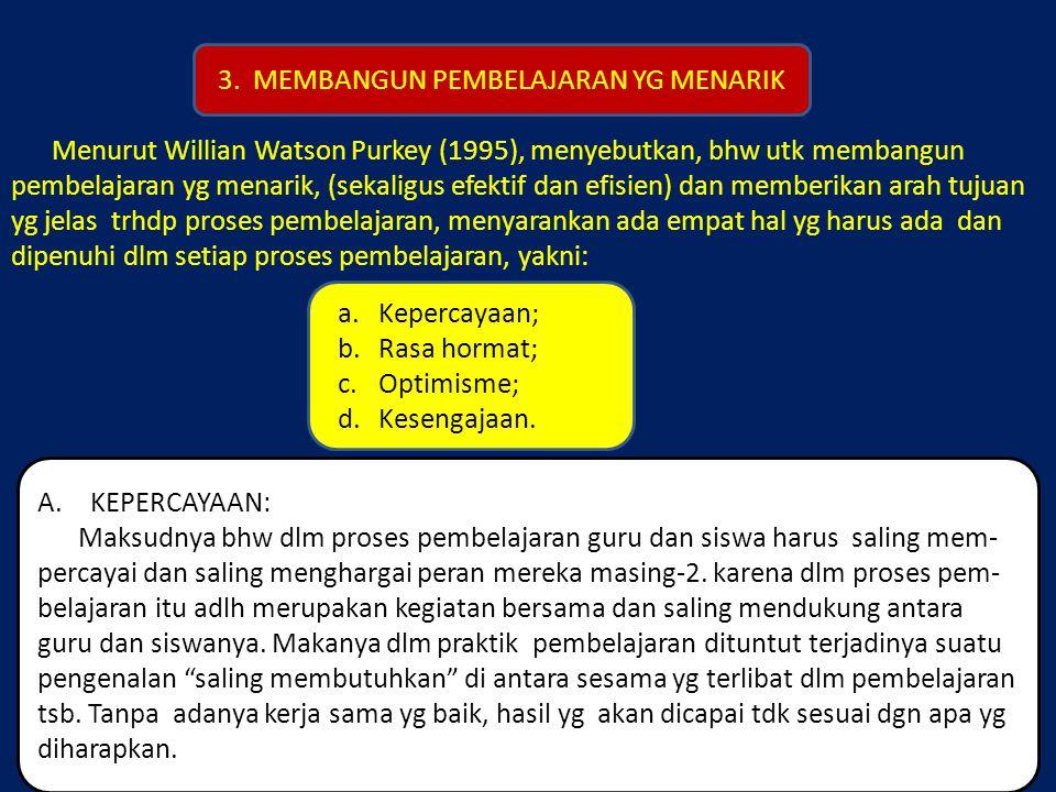 Menurut Willian Watson Purkey (1995), menyebutkan, bhw utk membangun pembelajaran yg menarik, (sekaligus efektif dan efisien) dan memberikan arah tuju