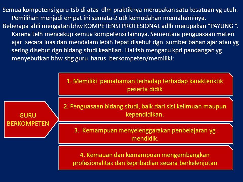  MERRIAM (1989) menyerankan bhw kompetensi profesional yg harus dimiliki oleh guru adalah: 1.Memahami motivasi para siswa; 2.Memahami kebutuhan belajar siswa; 3.Memiliki kemampuan yg cukup tentang teori dan praktik; 4.Memahami kebutuhan masyarakat para pengguna pendidikan; 5.Mampu menggunakan beragam metode dan teknik pembelajaran; 6.Memiliki keterampilan mendengar dan berkomunikasi (lisan dan tulisan); 7.Mengetahui bagaimana menggunakan materi yg diajarkan dlm praktik kehidupan nyata; 8.Memiliki pandangan yg terbuka utk memperkenankan siswa mengembang- kan minatnya masing-2 9.Memiliki keinginan utk terus memperkaya pengetahuannya dan melanjut- kan studinya; 10.Memiliki kemampuan utk melakukan evaluasi suatu program pembelaja- ran.