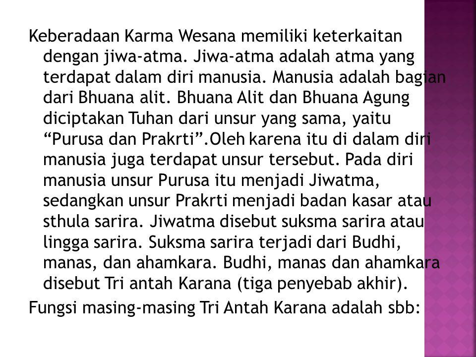 Keberadaan Karma Wesana memiliki keterkaitan dengan jiwa-atma.