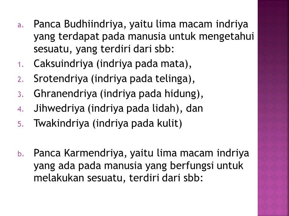 a. Panca Budhiindriya, yaitu lima macam indriya yang terdapat pada manusia untuk mengetahui sesuatu, yang terdiri dari sbb: 1. Caksuindriya (indriya p