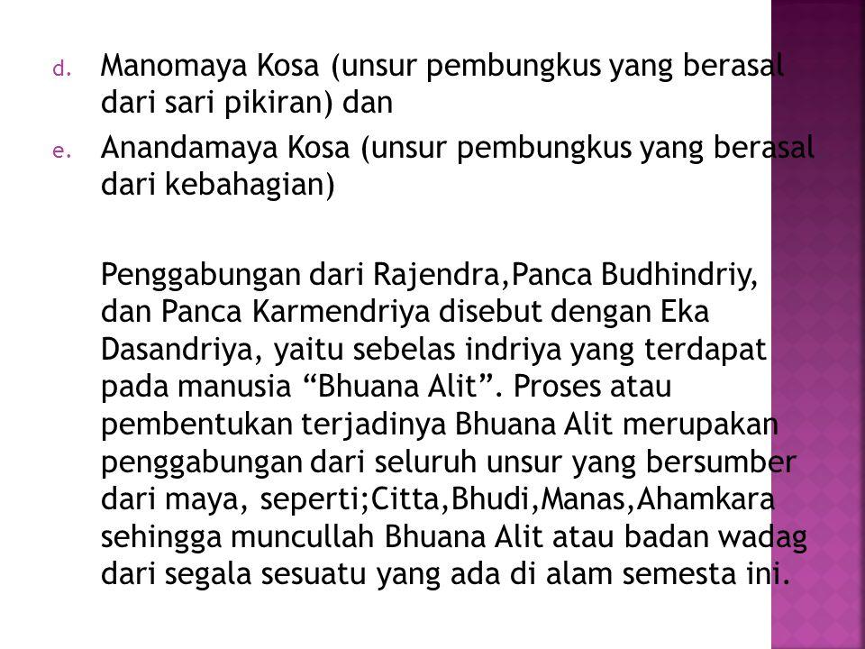 d.Manomaya Kosa (unsur pembungkus yang berasal dari sari pikiran) dan e.
