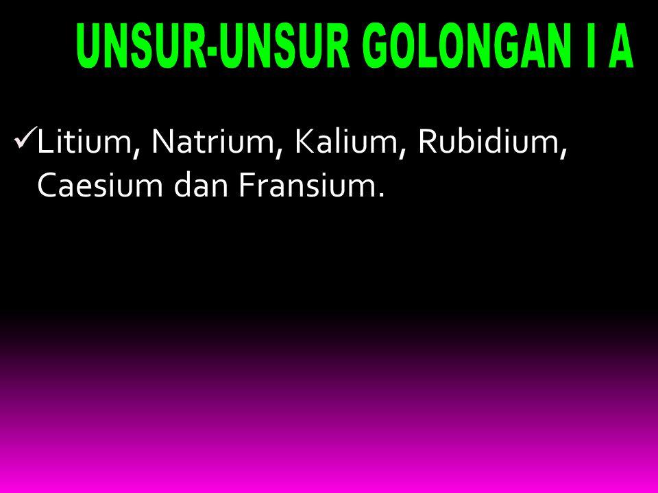 Litium, Natrium, Kalium, Rubidium, Caesium dan Fransium.