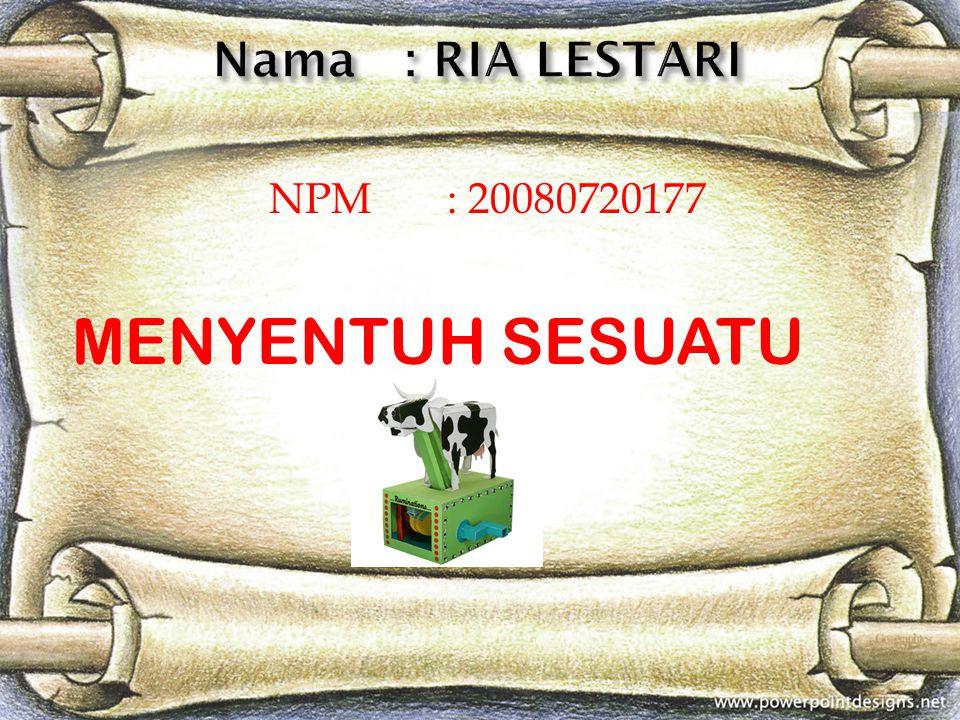 NPM : 20080720177 MENYENTUH SESUATU