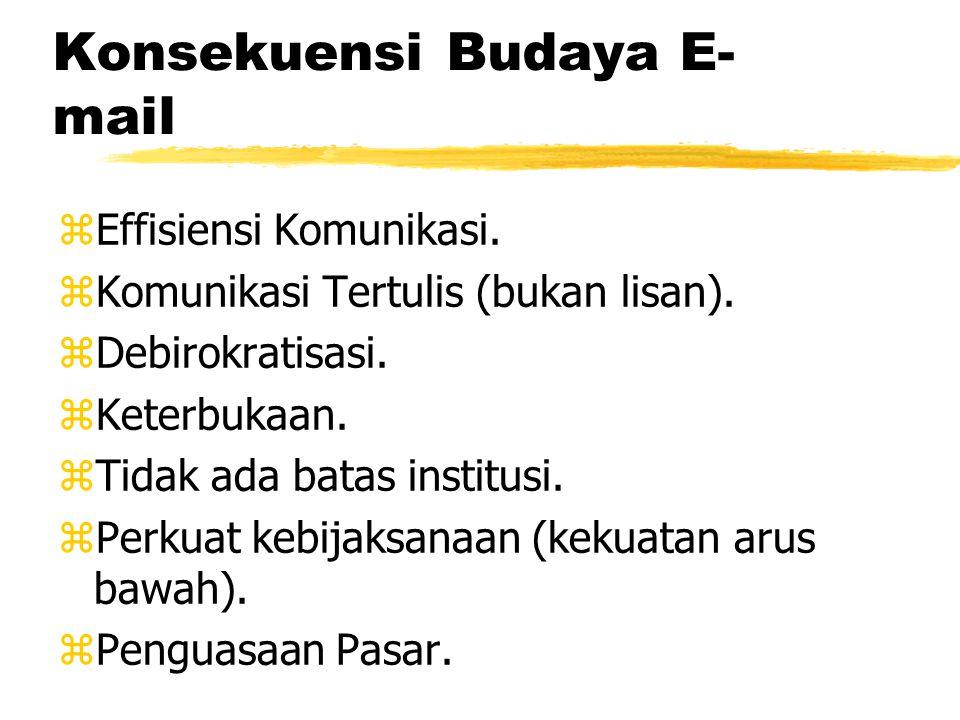 Konsekuensi Budaya E- mail zEffisiensi Komunikasi.