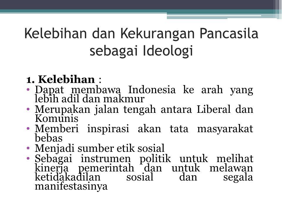 Pancasila sebagai Ideologi Terbuka 1. Pancasila adalah pandangan hidup yang berakar pada kesadaran masyarakat Indonesia; 2. Isi Pancasila tidak langsu