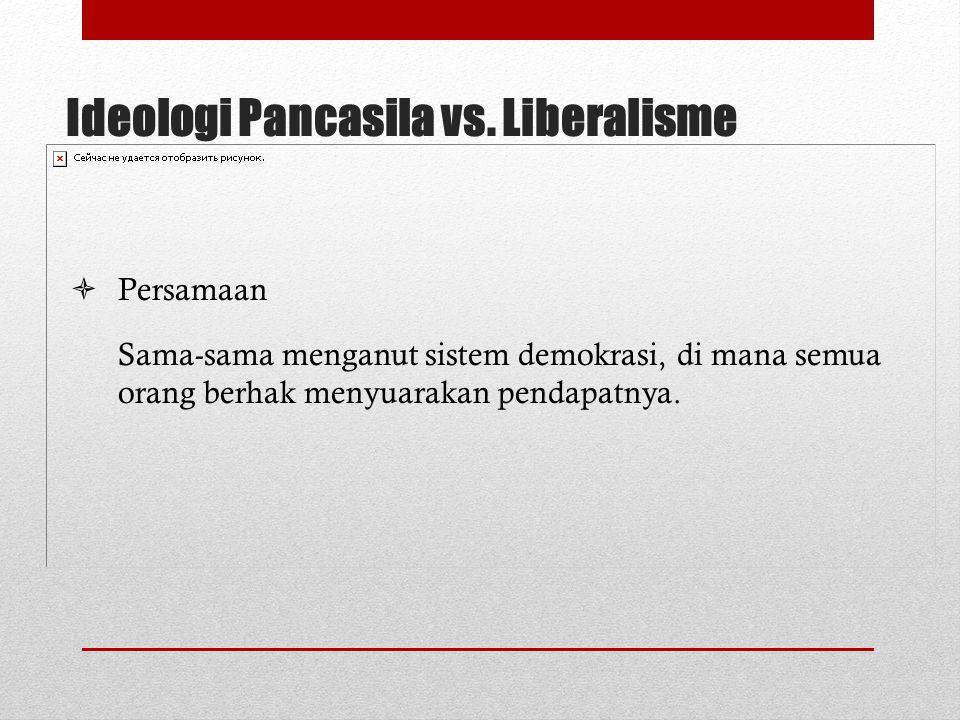 Ideologi Pancasila vs. Liberalisme  Perbedaan PancasilaLiberalisme 1.Kepemilikan individu dibatasi pada kepentingan yang tidak menjadi hajat hidup or