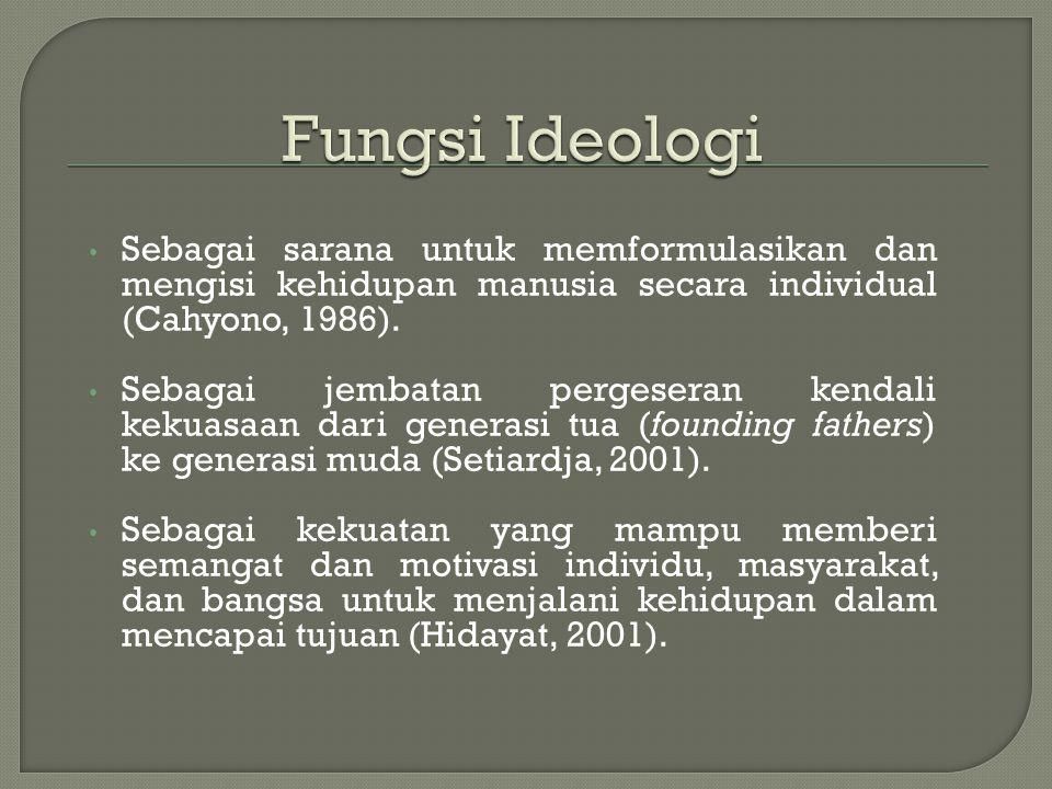 1. Sebagai tujuan atau cita-cita yang hendak dicapai bersama oleh suatu masyarakat. Nilai yang terkandung dalam ideologi menjadi cita-cita atau tujuan