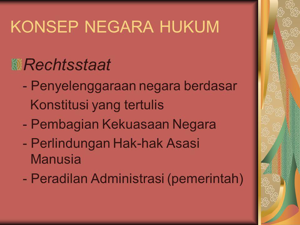 KONSEP NEGARA HUKUM Rechtsstaat - Penyelenggaraan negara berdasar Konstitusi yang tertulis - Pembagian Kekuasaan Negara - Perlindungan Hak-hak Asasi M