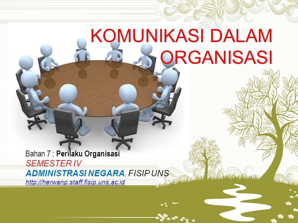 KOMUNIKASI DALAM ORGANISASI Bahan 7 : Perilaku Organisasi SEMESTER IV ADMINISTRASI NEGARA, FISIP UNS http://herwanp.staff.fisip.uns.ac.id