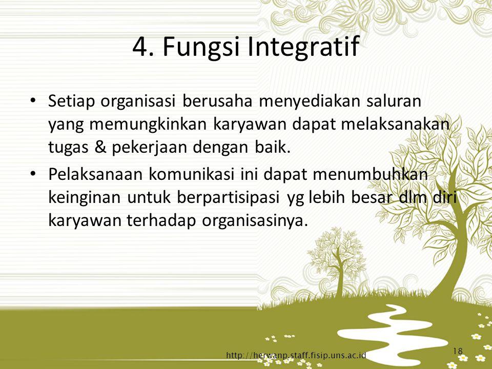4. Fungsi Integratif Setiap organisasi berusaha menyediakan saluran yang memungkinkan karyawan dapat melaksanakan tugas & pekerjaan dengan baik. Pelak