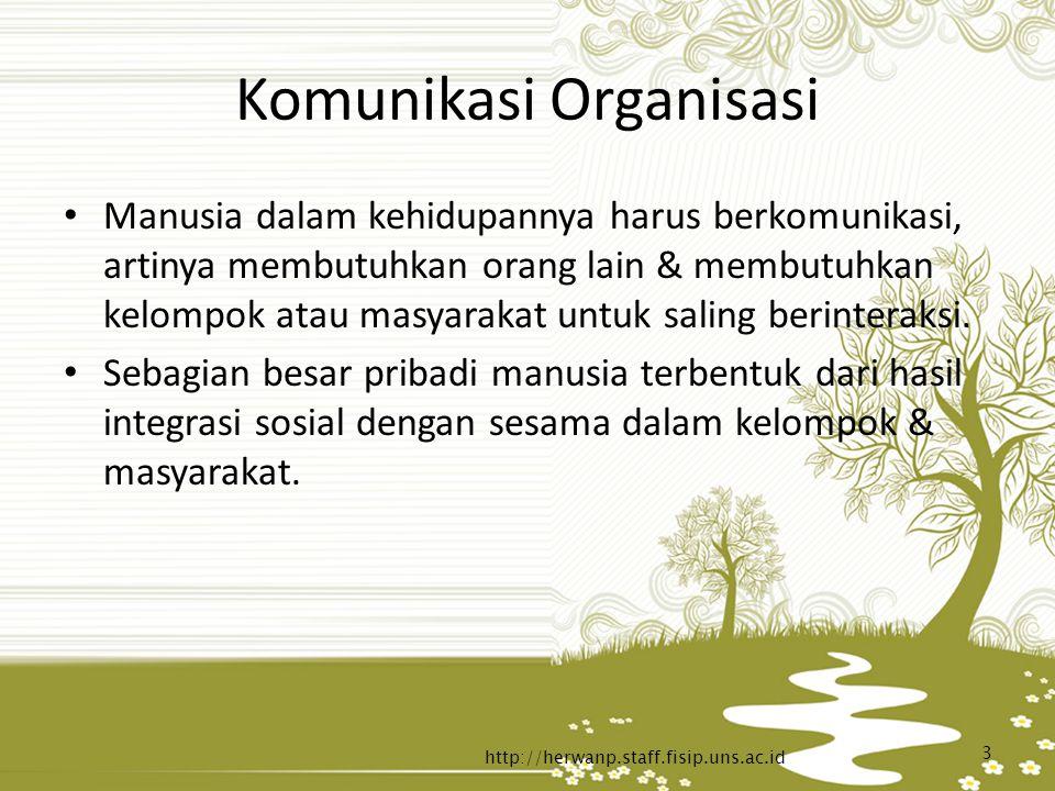 Komunikasi Organisasi Manusia dalam kehidupannya harus berkomunikasi, artinya membutuhkan orang lain & membutuhkan kelompok atau masyarakat untuk sali