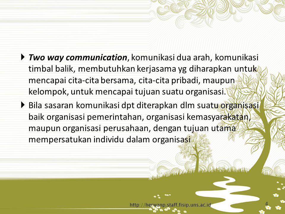  Two way communication, komunikasi dua arah, komunikasi timbal balik, membutuhkan kerjasama yg diharapkan untuk mencapai cita-cita bersama, cita-cita