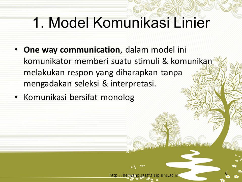 1. Model Komunikasi Linier One way communication, dalam model ini komunikator memberi suatu stimuli & komunikan melakukan respon yang diharapkan tanpa