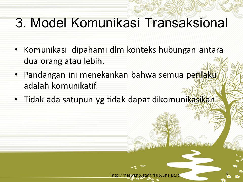 3. Model Komunikasi Transaksional Komunikasi dipahami dlm konteks hubungan antara dua orang atau lebih. Pandangan ini menekankan bahwa semua perilaku