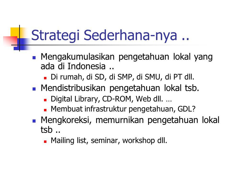Strategi Sederhana-nya.. Mengakumulasikan pengetahuan lokal yang ada di Indonesia..