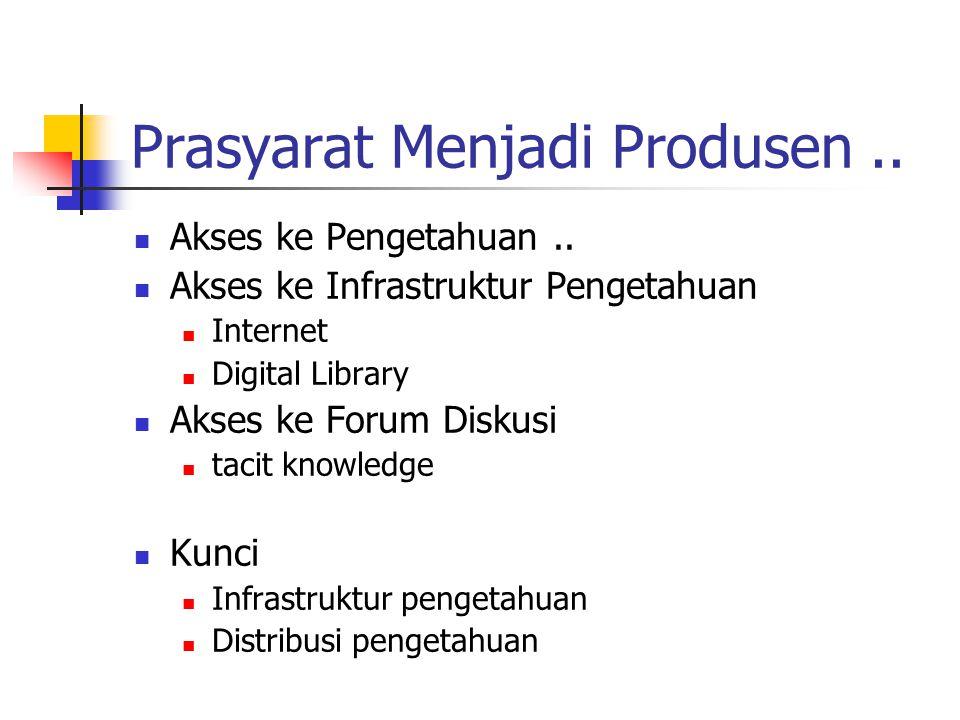 Prasyarat Menjadi Produsen.. Akses ke Pengetahuan.. Akses ke Infrastruktur Pengetahuan Internet Digital Library Akses ke Forum Diskusi tacit knowledge