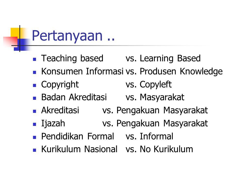 Pertanyaan.. Teaching basedvs. Learning Based Konsumen Informasivs. Produsen Knowledge Copyrightvs. Copyleft Badan Akreditasivs. Masyarakat Akreditasi