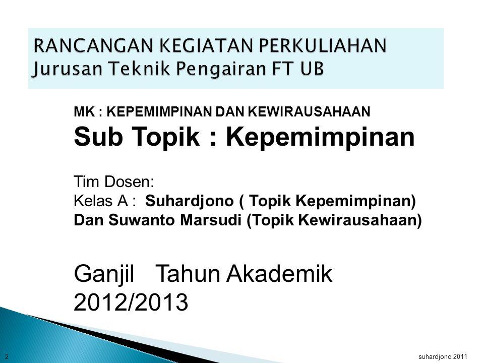 Sub Topik : Kepemimpinan Suhardjono dan Suwanto Marsudi suhardjono 2011 1 Rancangan perkuliahan
